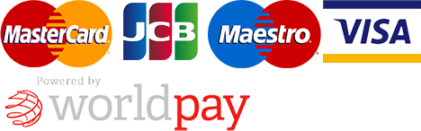 Payment options - MasterCard, JCB, Maestro, Visa. Powered by worldpay